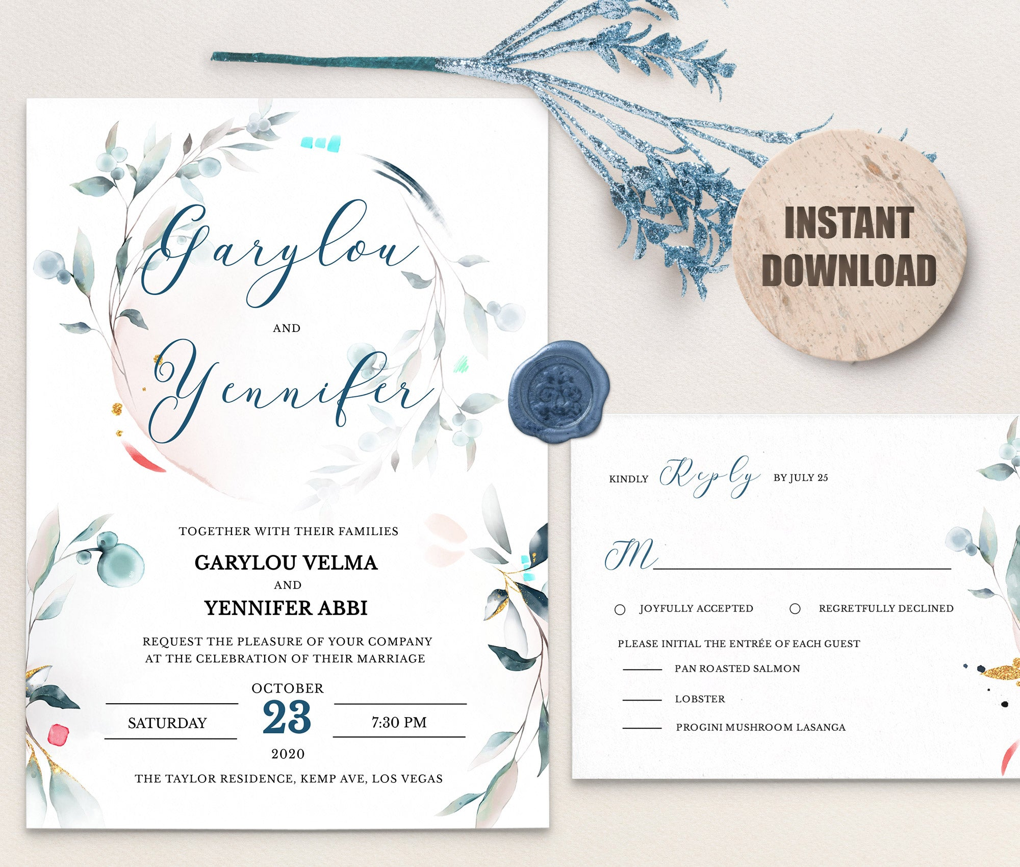 SPMR - Wedding Invitation and RSVP set 6 - Greenlanderdesign
