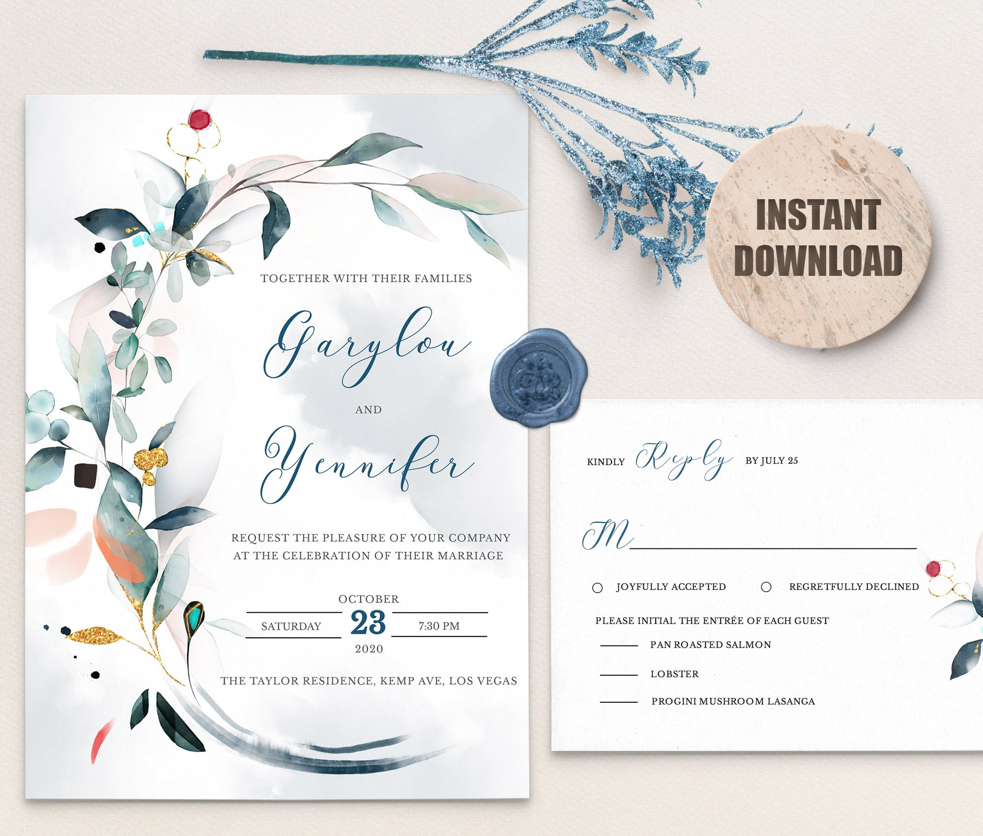 SPMR - Wedding Invitation and RSVP set 8 - Greenlanderdesign