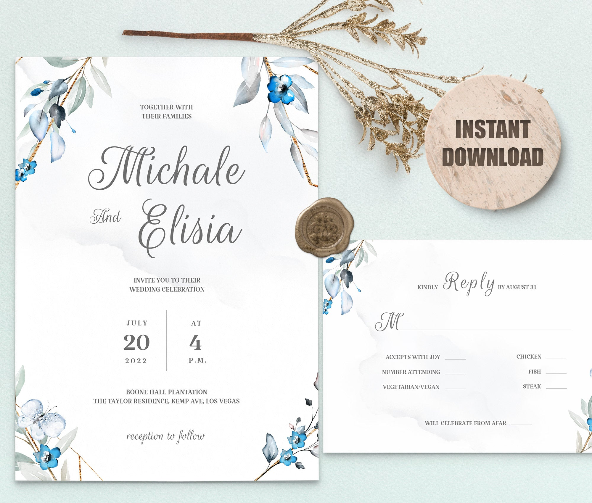 MELLY Wedding Invitation and RSVP
