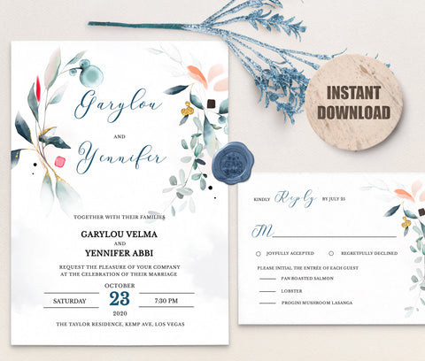 SPMR - Wedding Invitation and RSVP set 7 - Greenlanderdesign