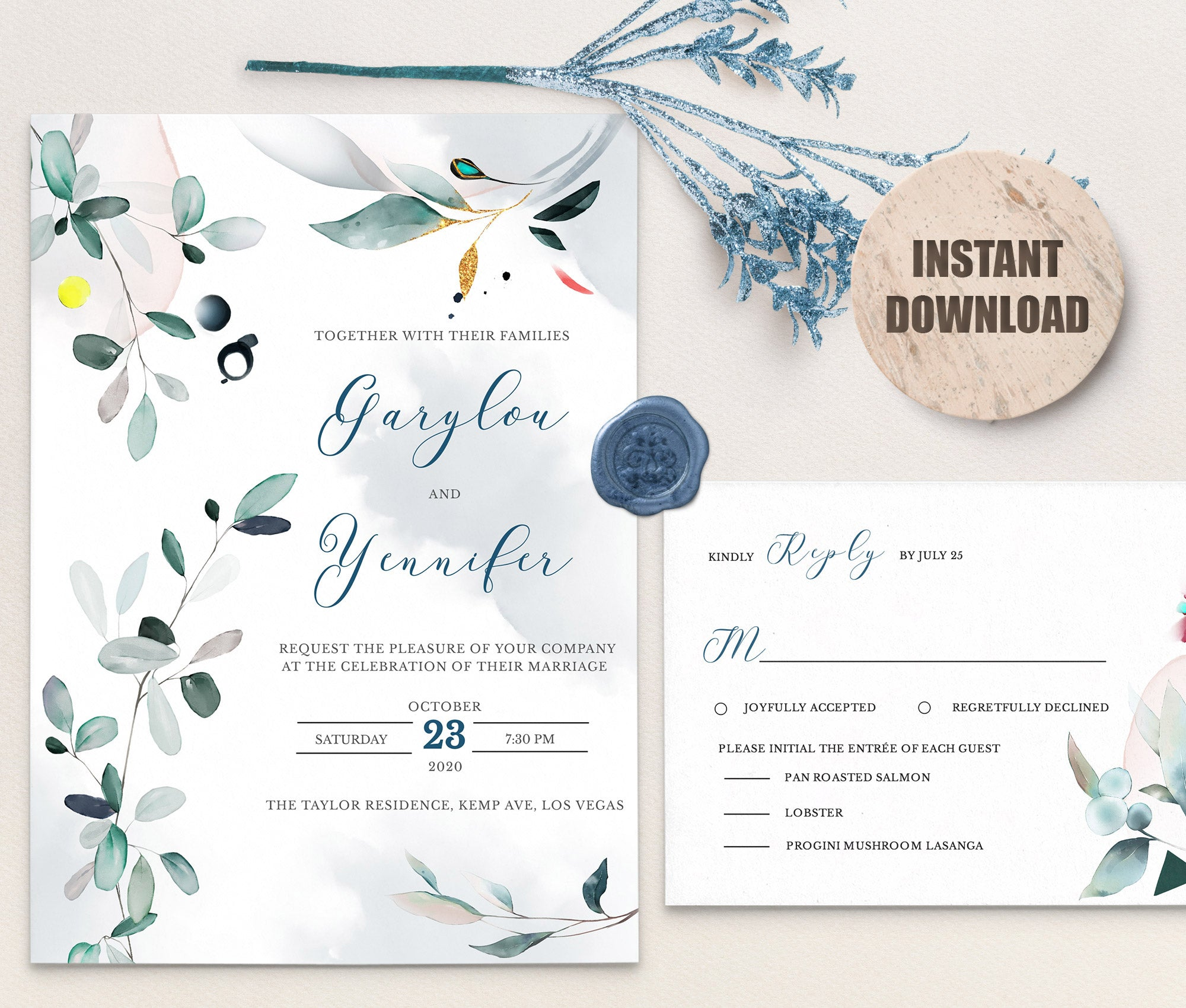 SPMR - Wedding Invitation and RSVP set 9 - Greenlanderdesign