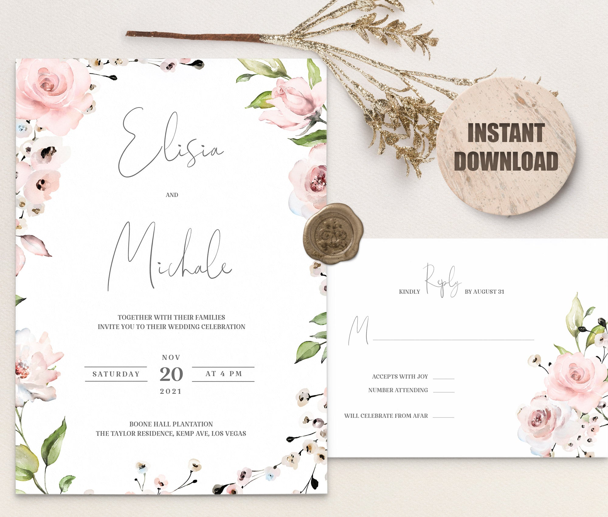 LOVAL Wedding Invitation and RSVP set 1