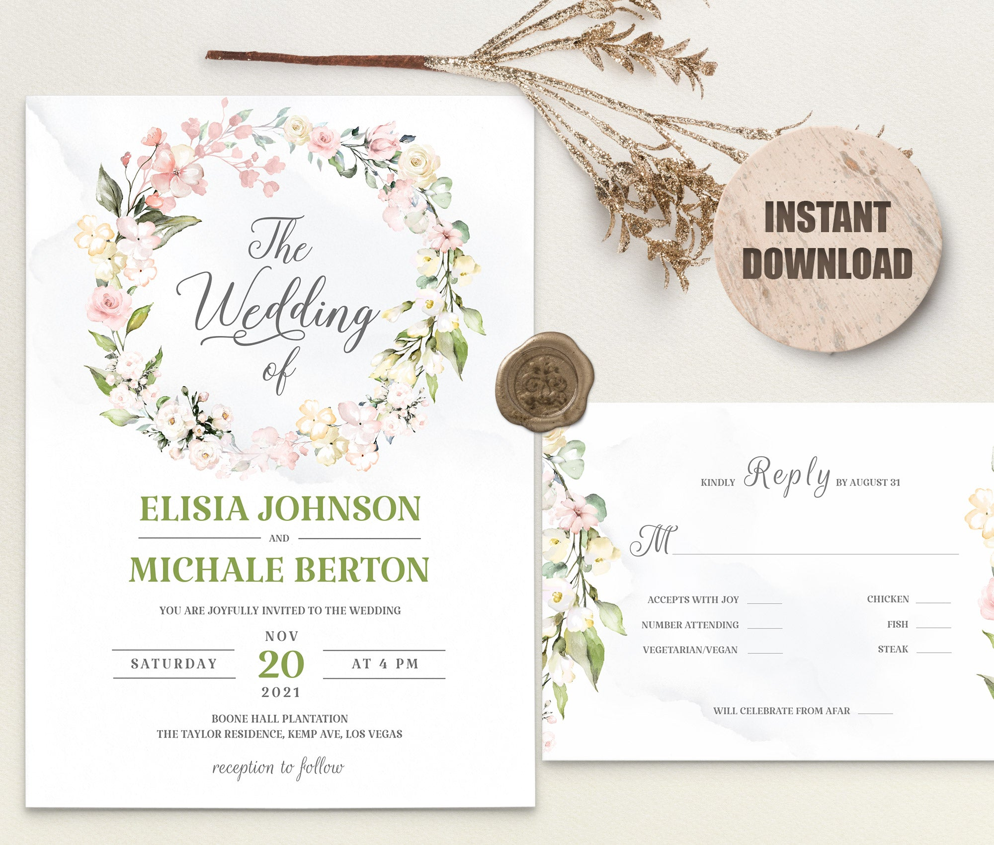 LOVAL Wedding Invitation and RSVP set 8