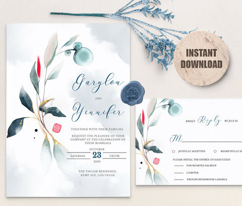SPMR - Wedding Invitation and RSVP set 3 - Greenlanderdesign