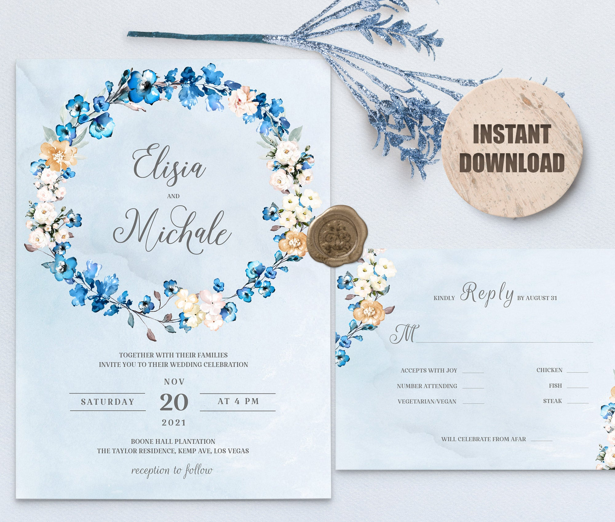 MELLY Wedding Invitation and RSVP set 2