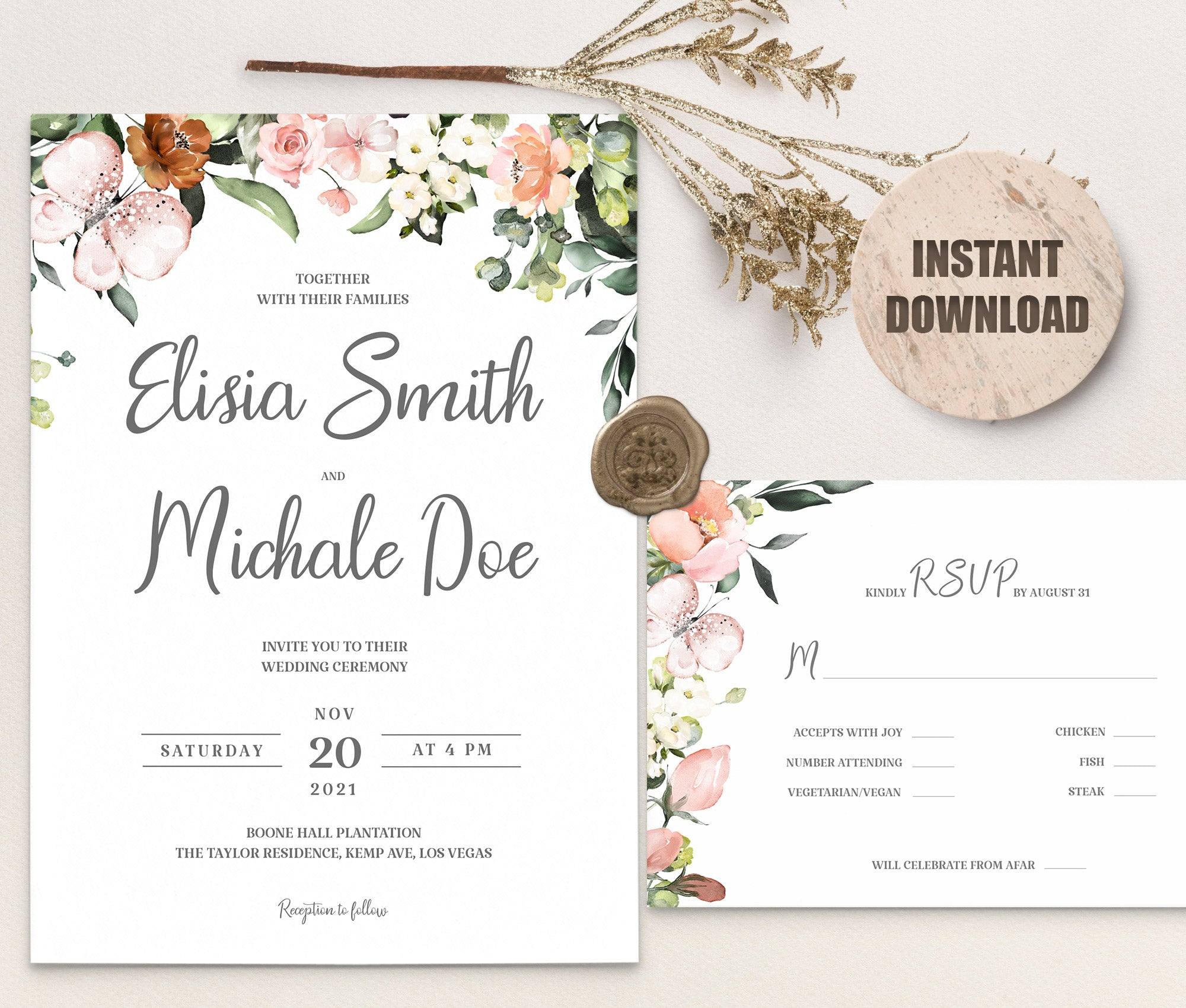 LOVAL Wedding Invitation and RSVP set 3