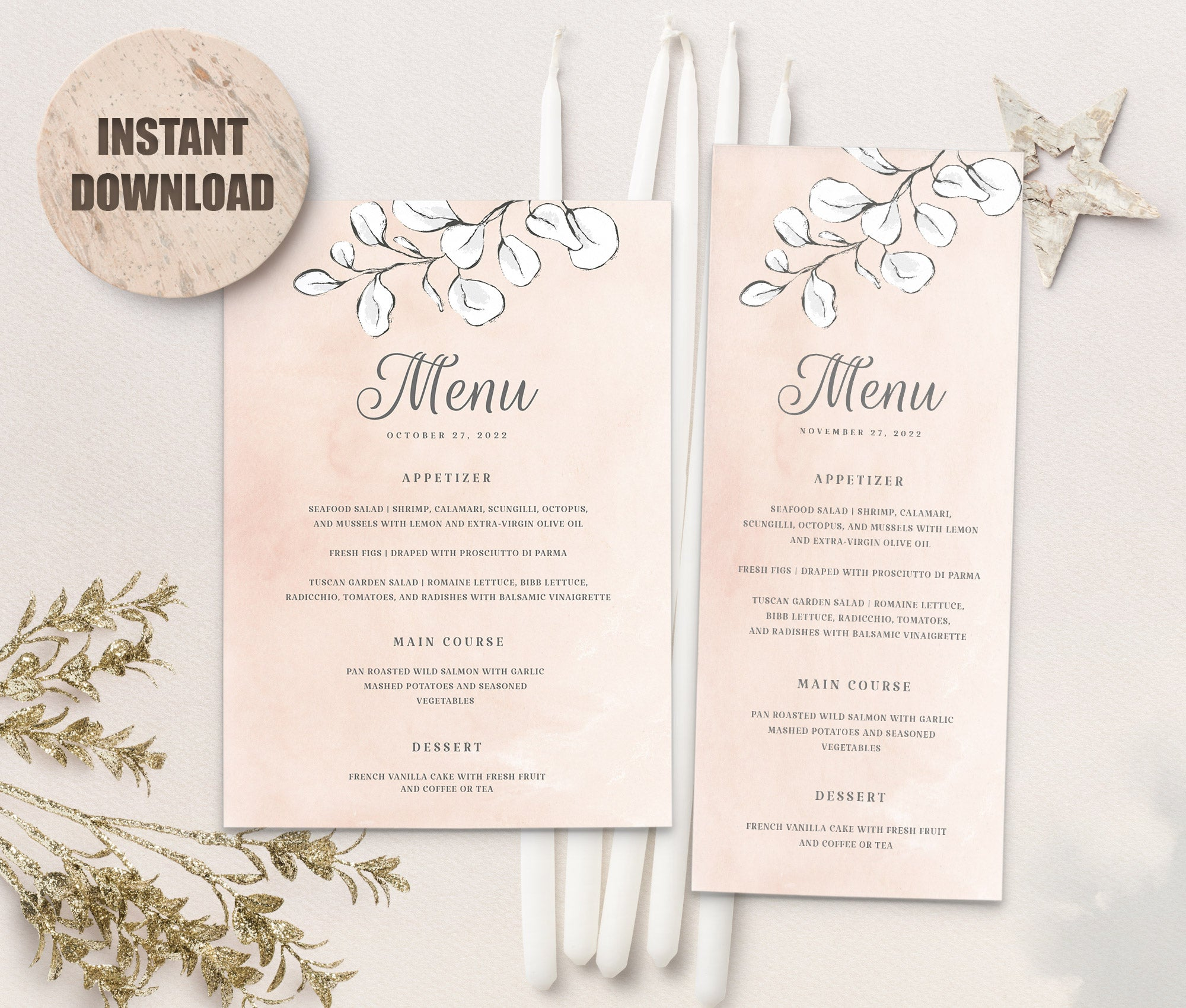 REMA Wedding Menu Templates