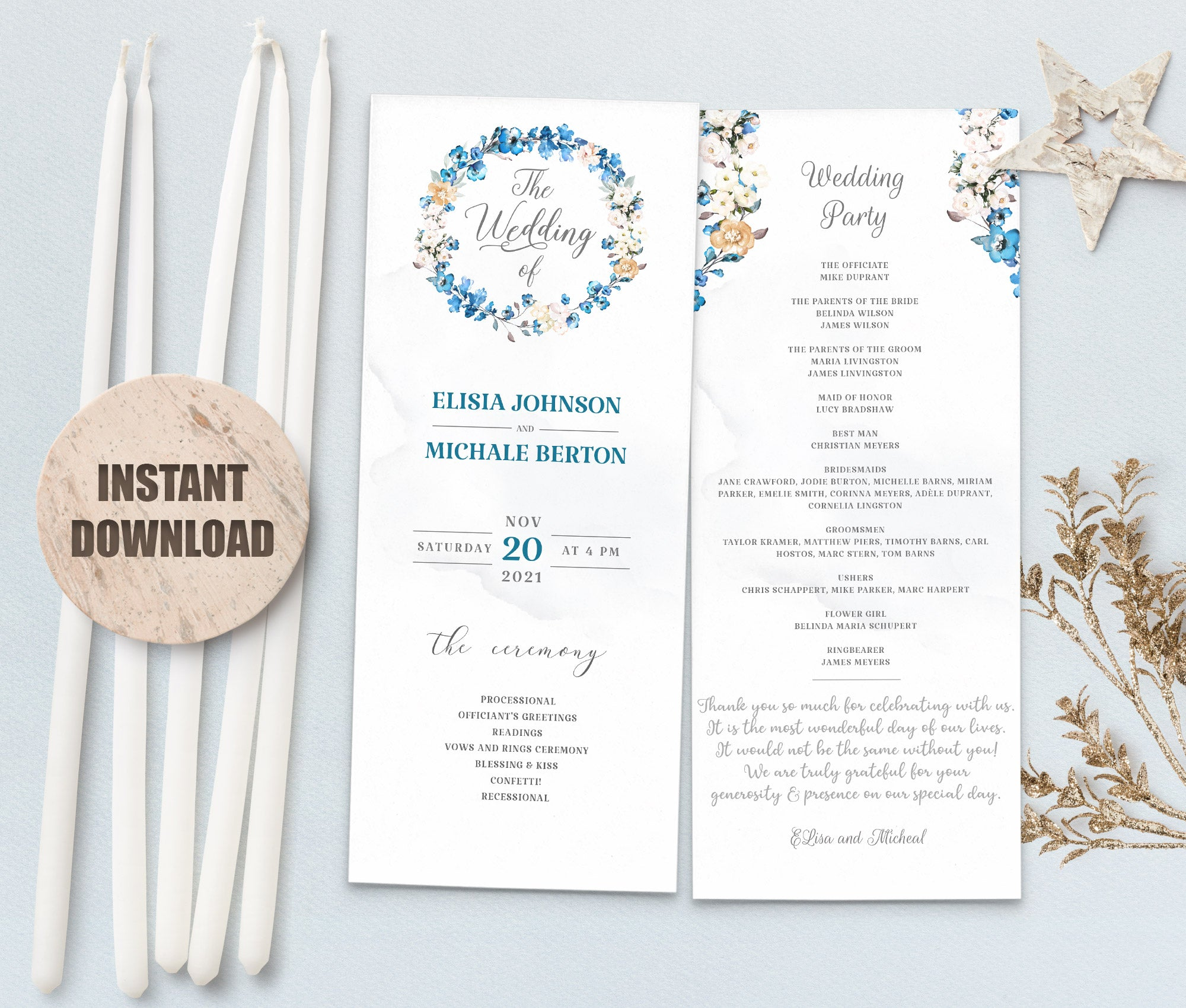 MELLY Wedding Program Template 3