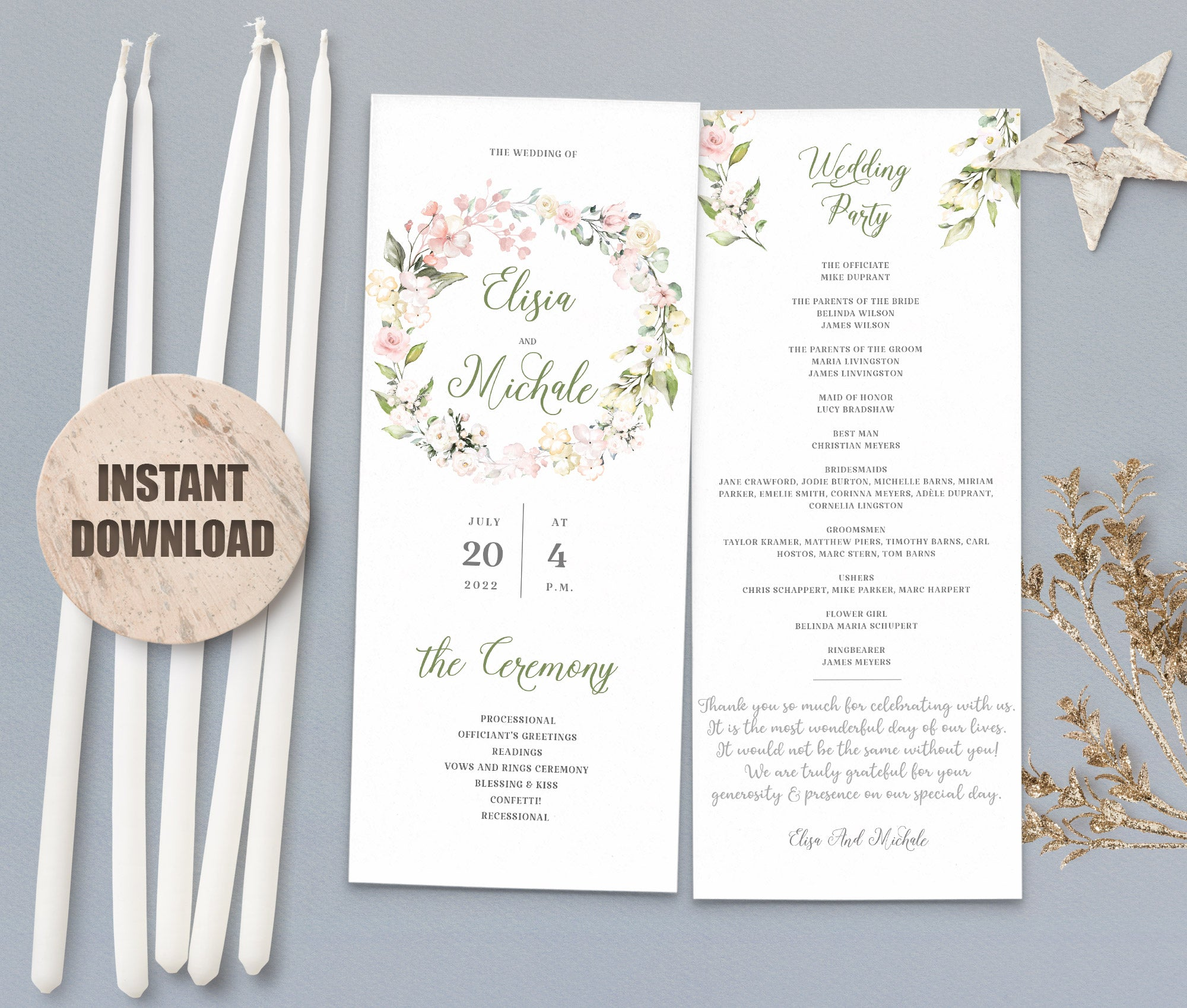 LOVAL Wedding Program set 6