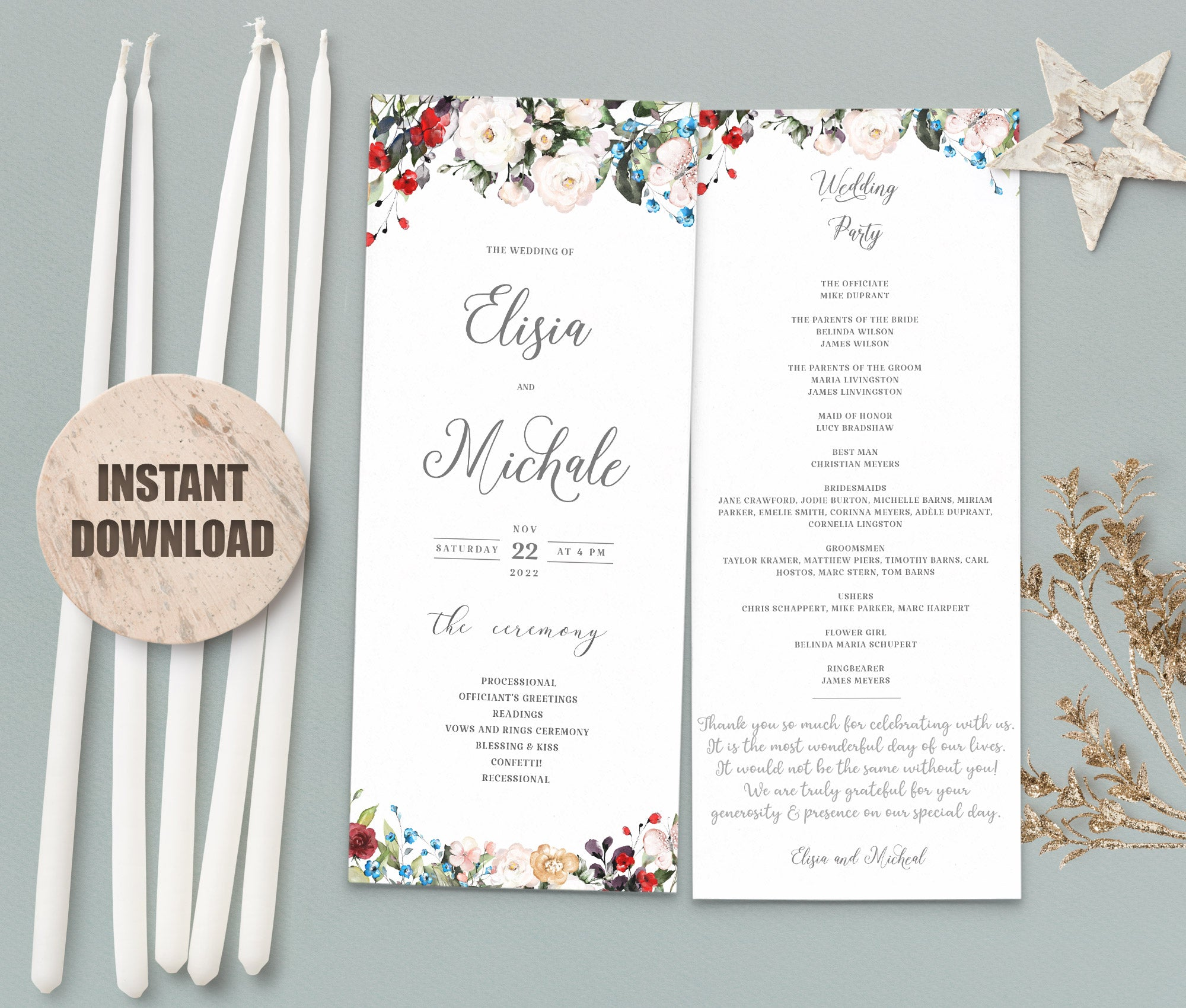 LOVAL Wedding Program set 4