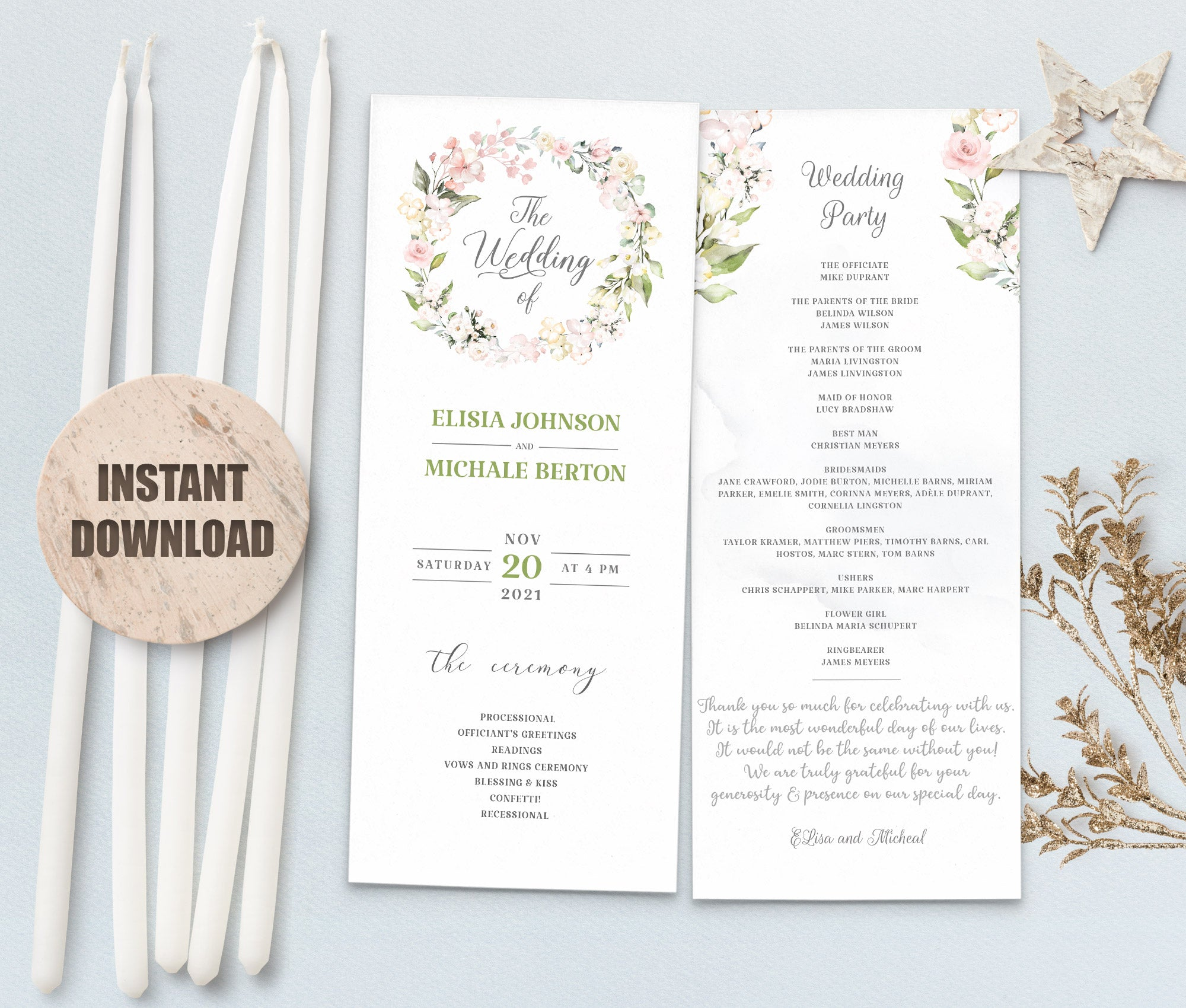 LOVAL Wedding Program set 8