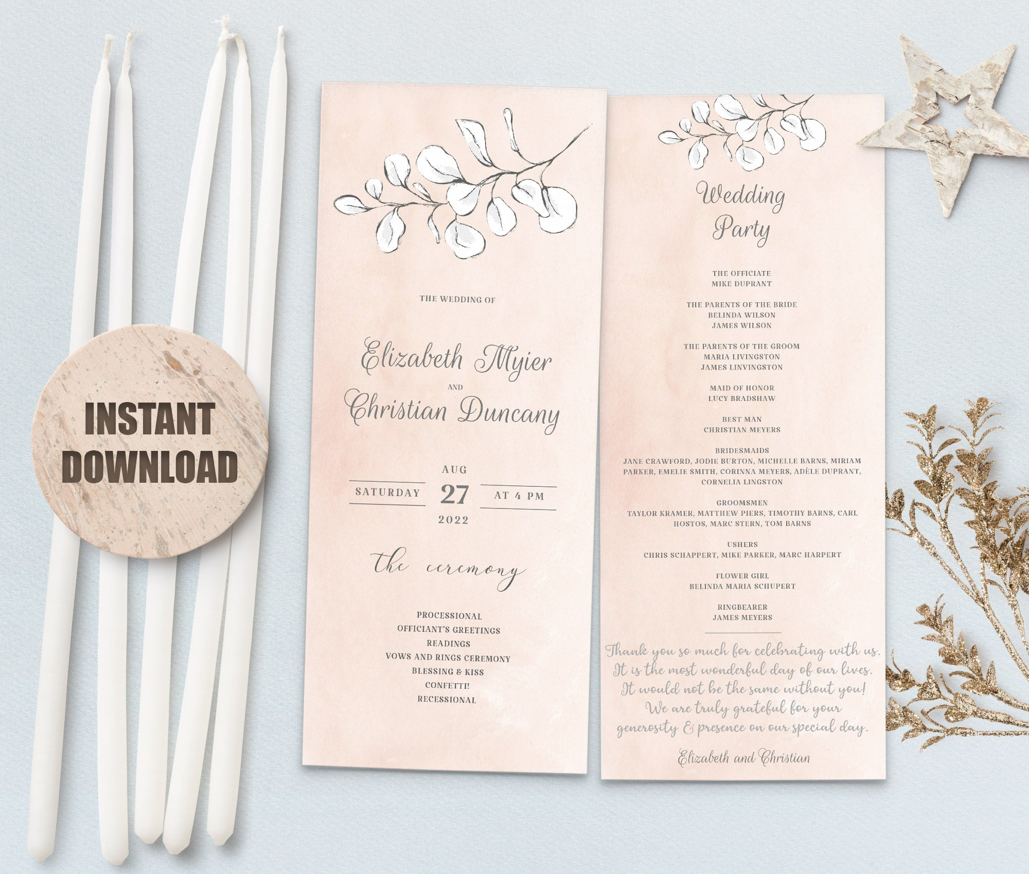 REMA Wedding Program Template Set