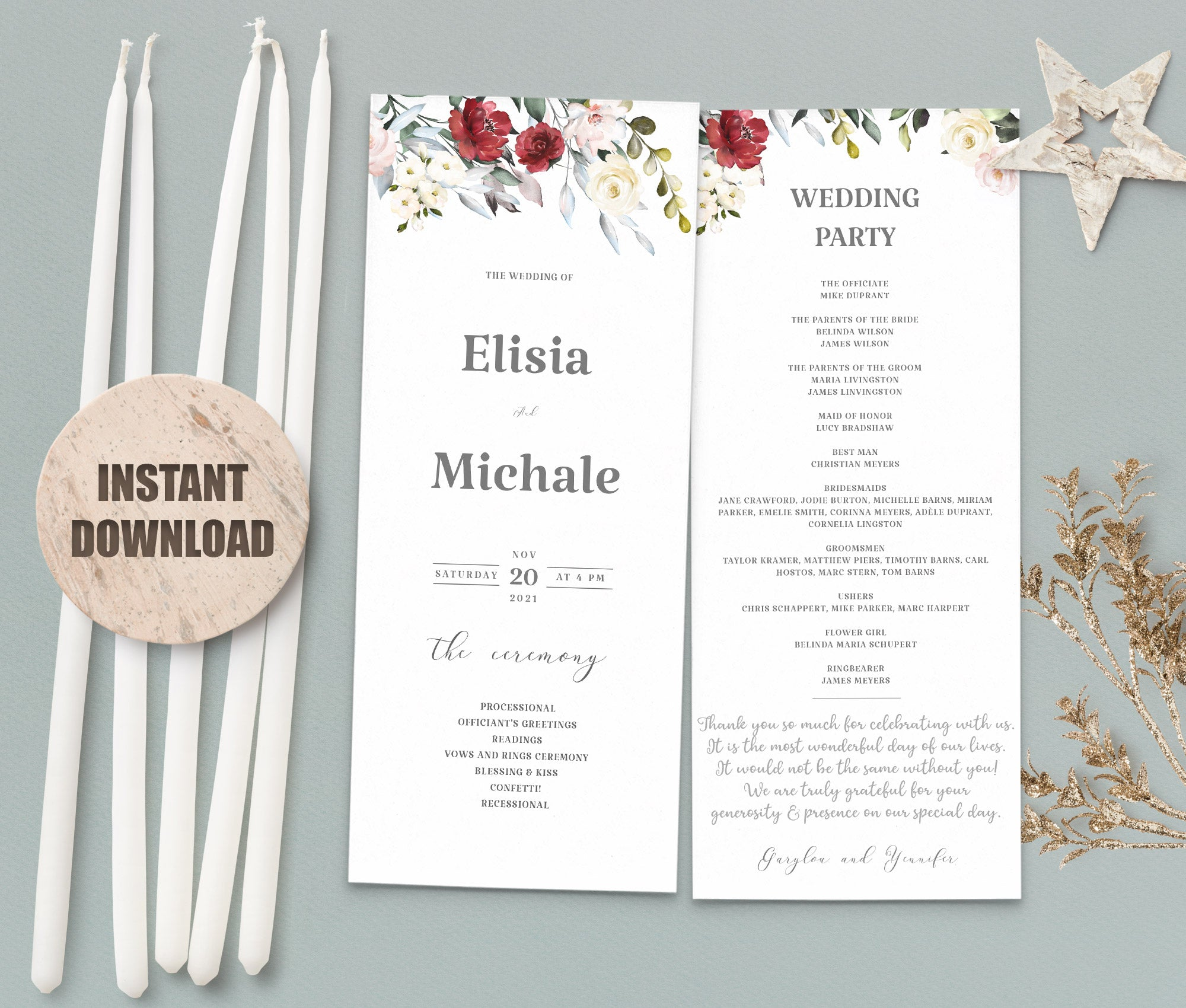 LOVAL Wedding Program set 2