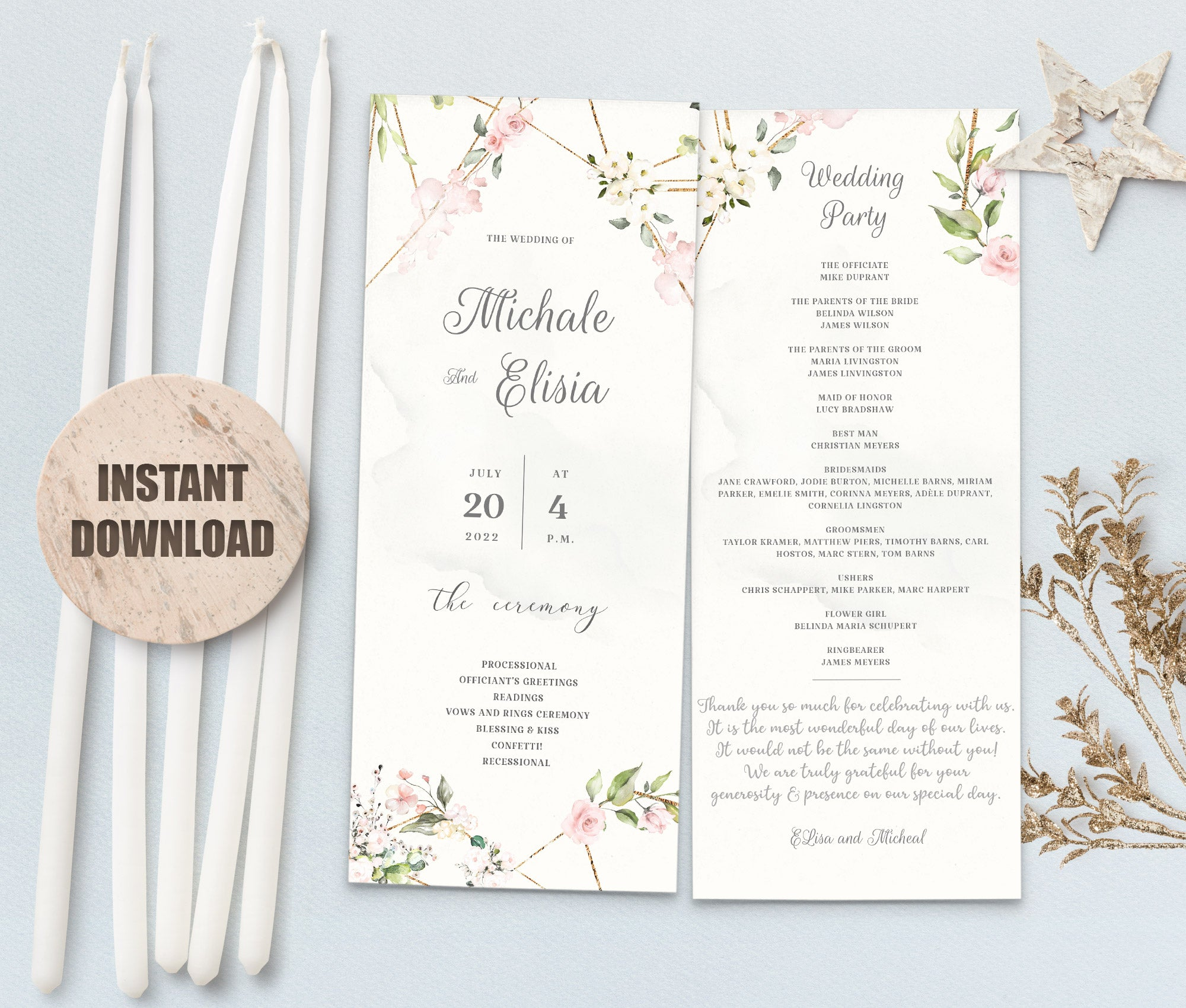LOVAL Wedding Program set 7