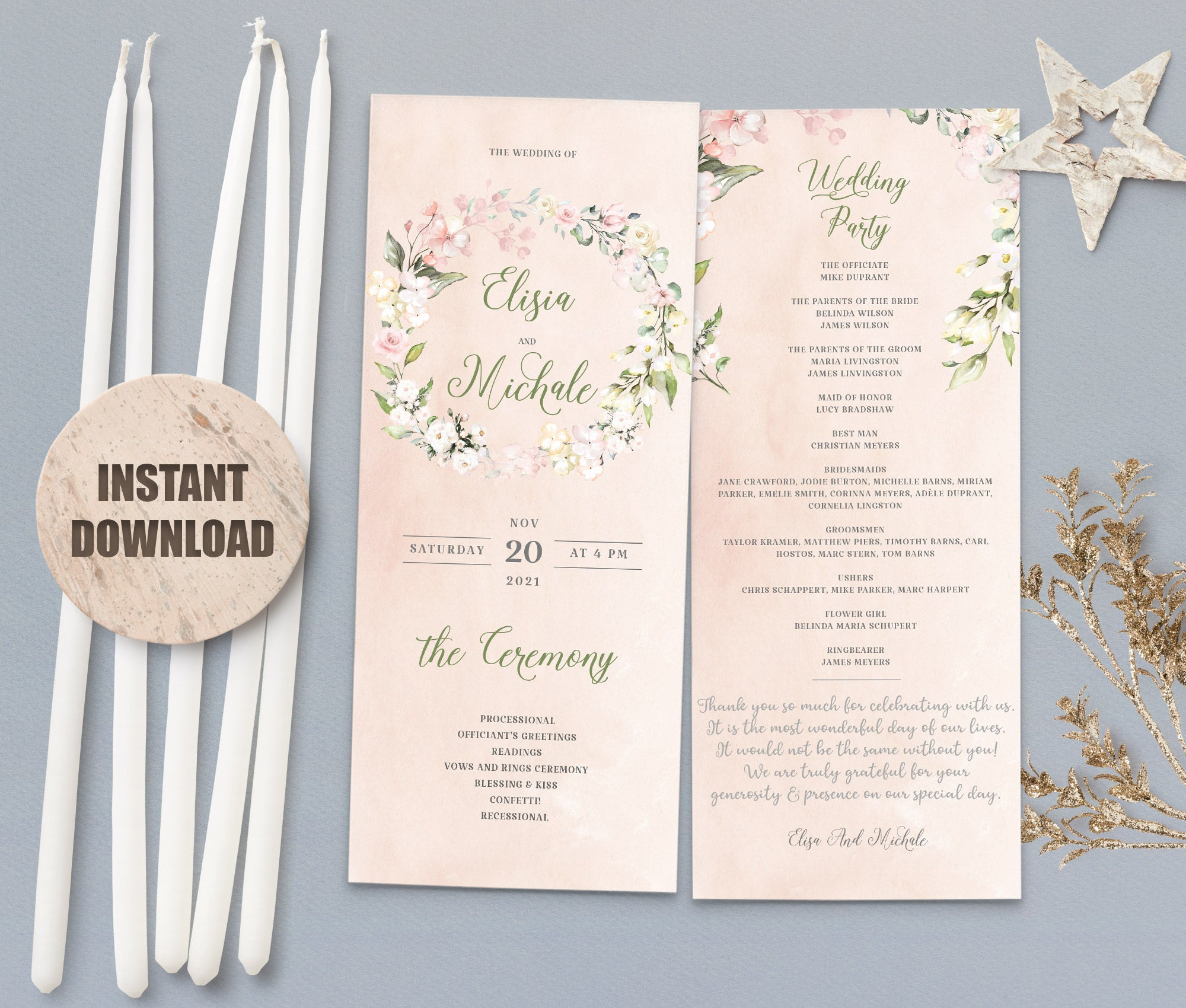 LOVAL Wedding Program set 5