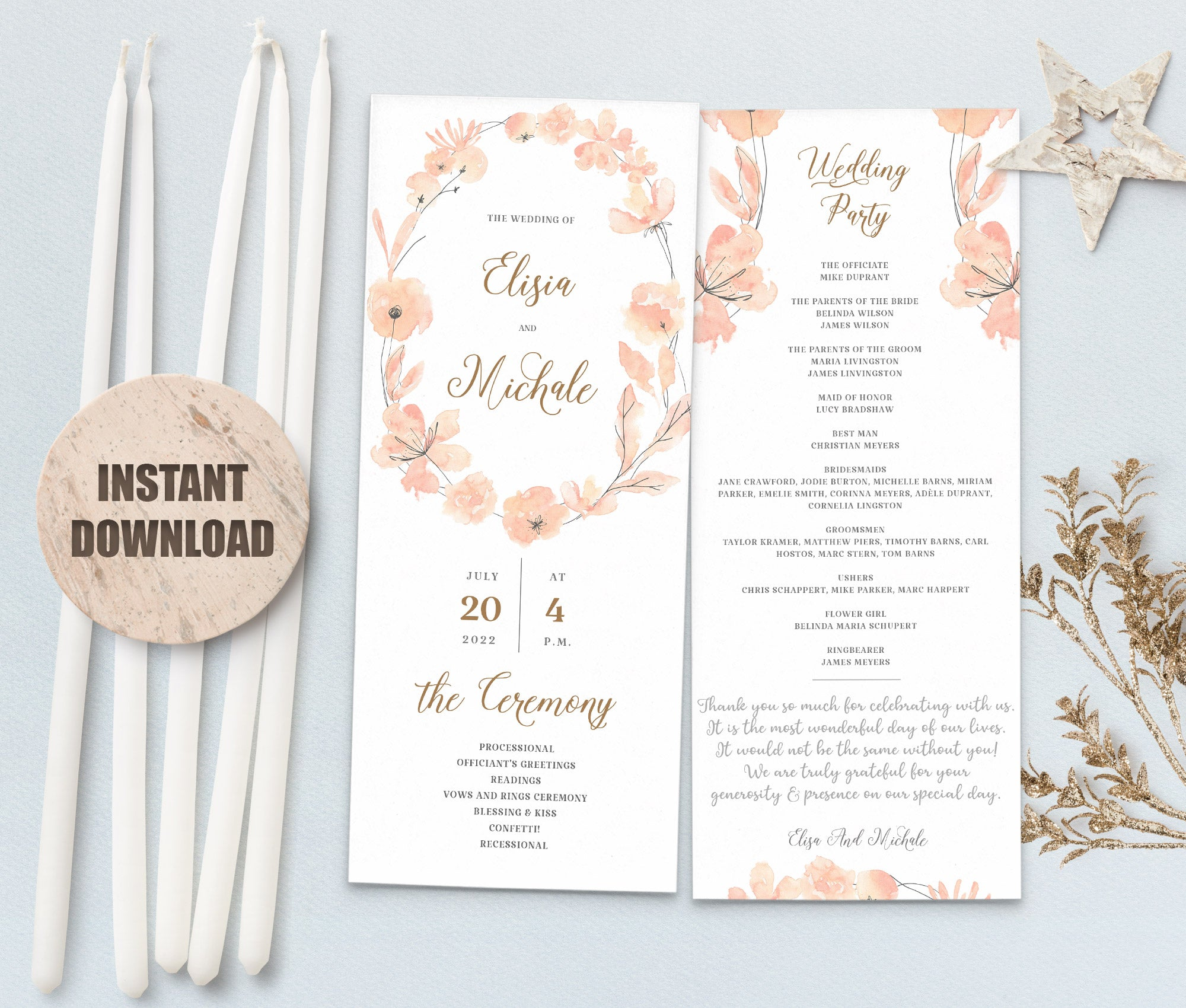 LOVAL Wedding Program set 10