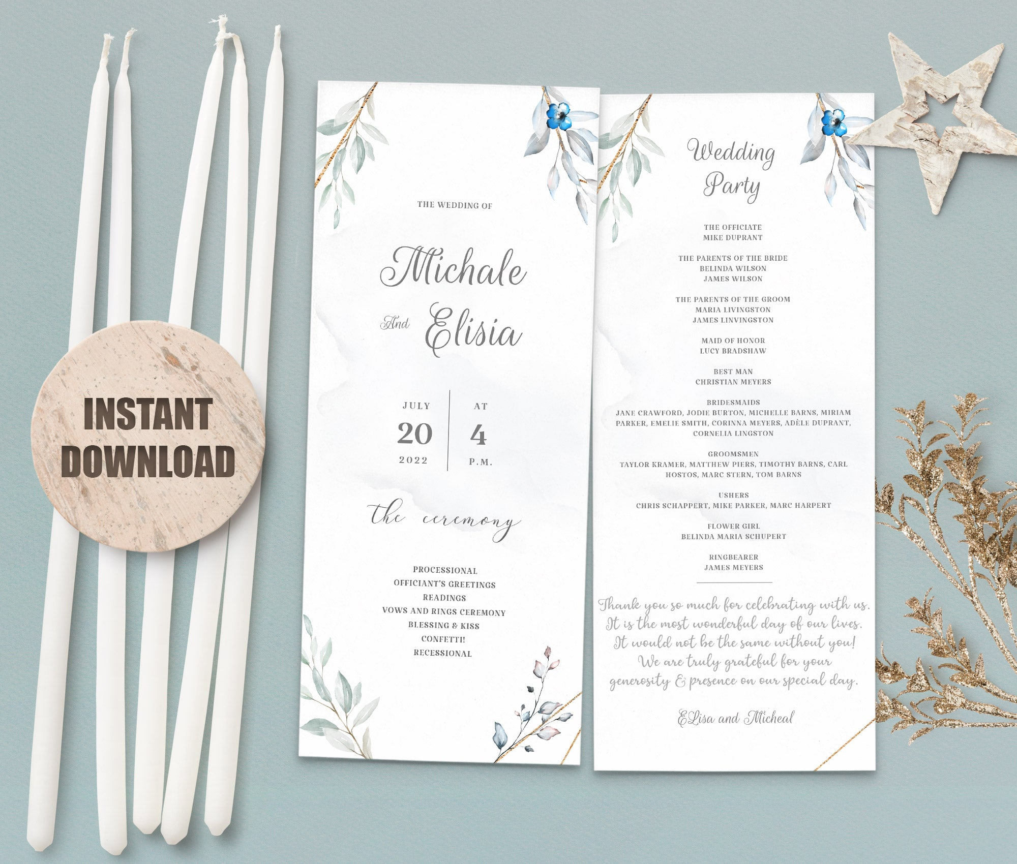 MELLY Wedding Program Template