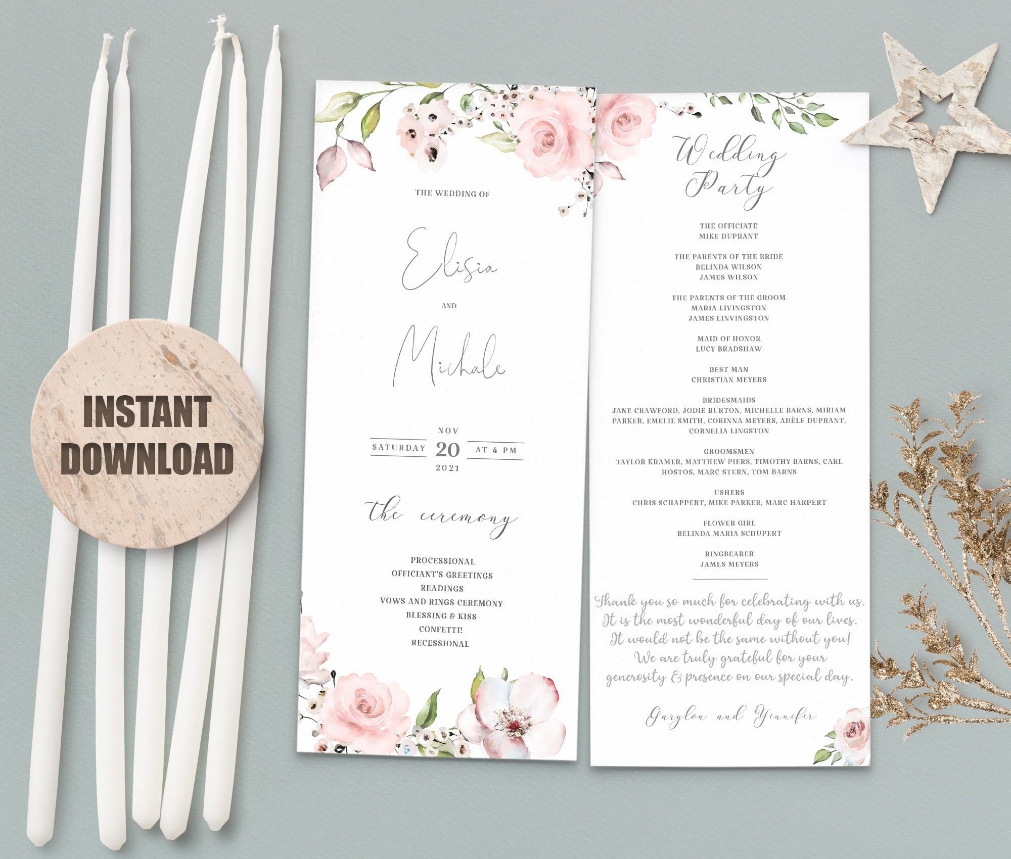 LOVAL Wedding Program set 1