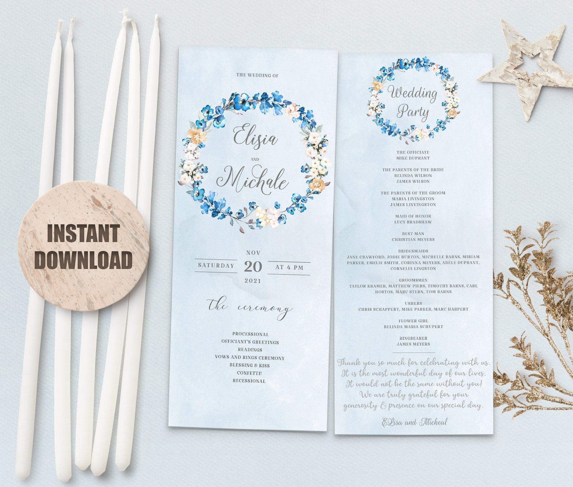 MELLY Wedding Program Template 2
