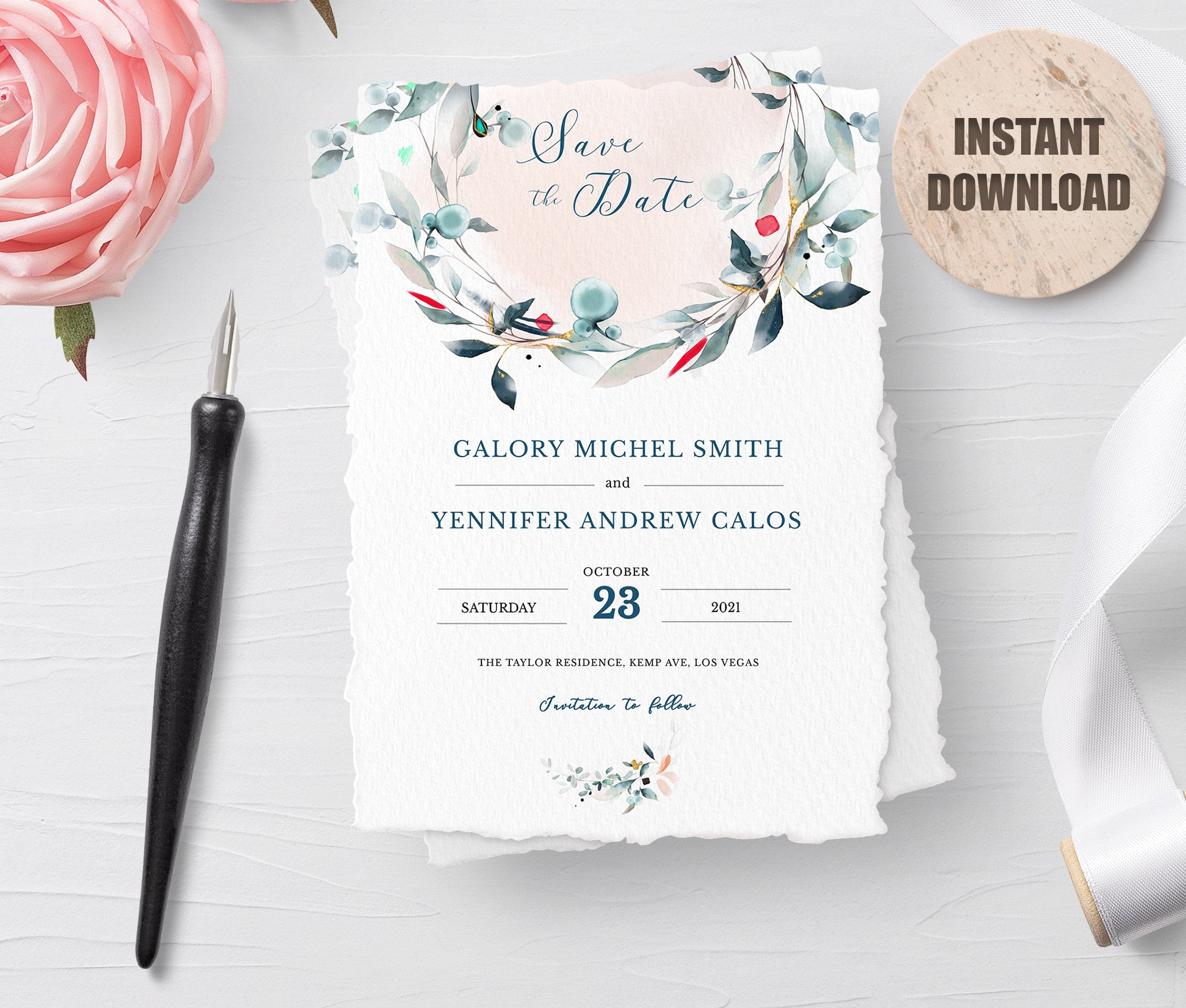 SPMR - Printable Save the Date Card set 1 - Greenlanderdesign