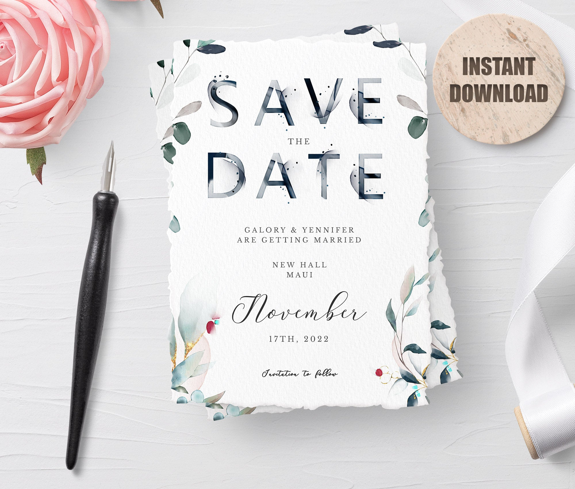 SPMR - Printable Save the Date Card set 4 - Greenlanderdesign