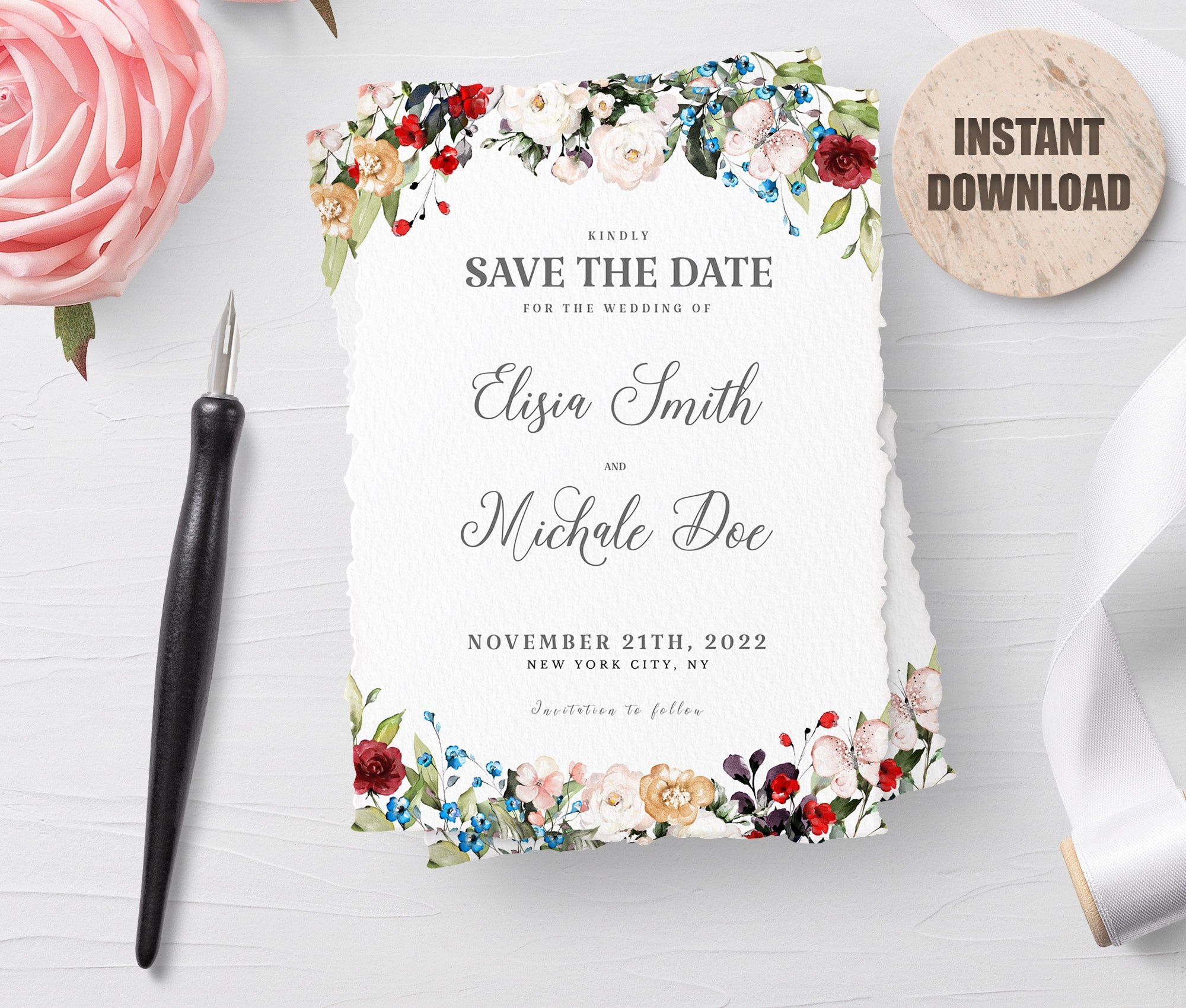 LOVAL Printable Save the Date Card set 4