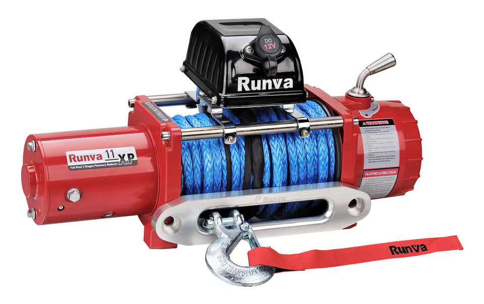 Runva 11XP 12V with Synthetic Rope - IP67 Motor (RED)