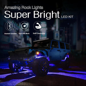 MICTUNING 4x RGB LED-Rock Light Pod Offroad Wireless Bluetooth Music Controller
