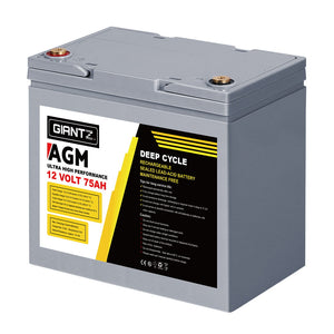 Giantz 75Ah Deep Cycle Battery & Battery Box 12V AGM Marine Sealed Power Solar Caravan 4WD Camping