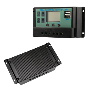 New 30A 12V 24V LCD Display PWM Solar Panel Regulator Charge Controller 2X USB