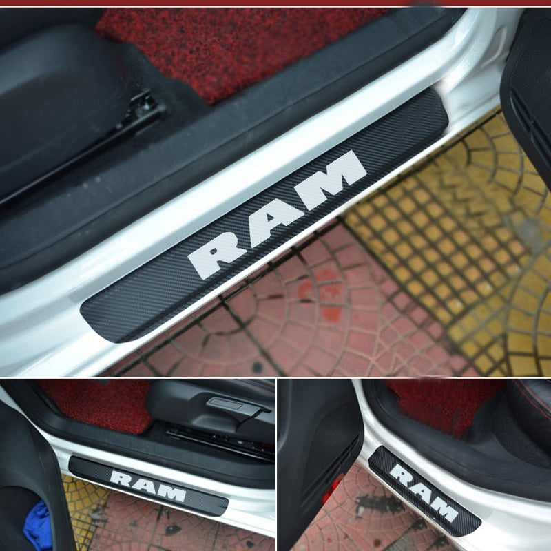 Dodge RAM Door Sill Plate Carbon Fiber car Scuff Sticker Door