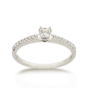 18ct Brilliant-cut 0.34ct TDW Diamond Shoulder Solitaire