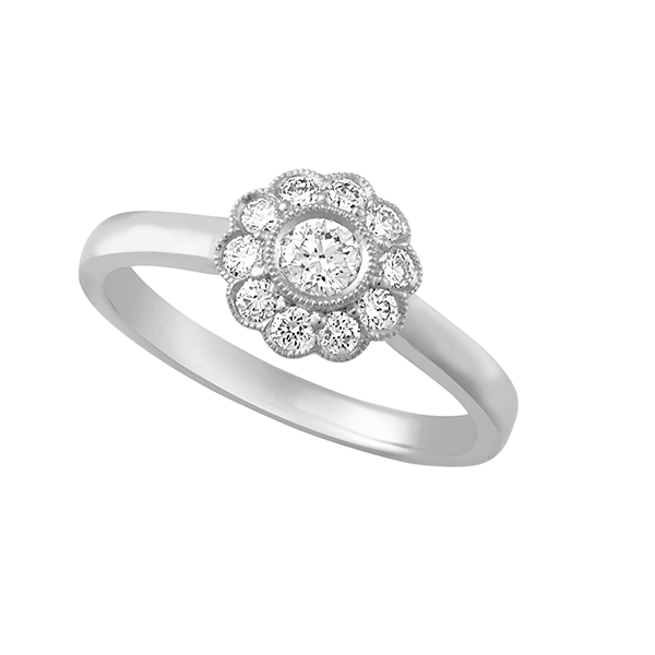 18ct Gold Bezel Set Flower Ring