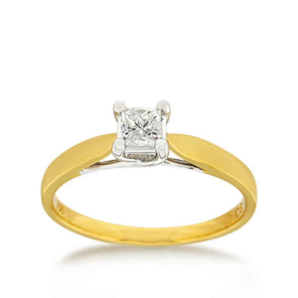 18ct Princess-cut 0.34ct Diamond Solitaire