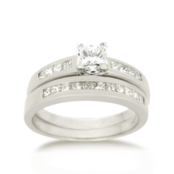 18ct Princess-cut 0.76ct TDW Diamond Bridal Set