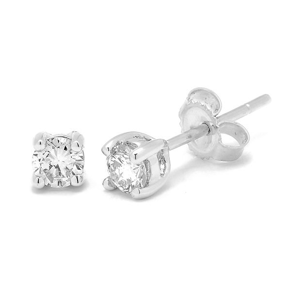 18ct White Gold 0.05ct TDW Diamond Earrings
