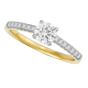 18ct White Gold 4 Claw Round Brilliant-cut Diamond Ring with Round Brilliant-cut Shoulders