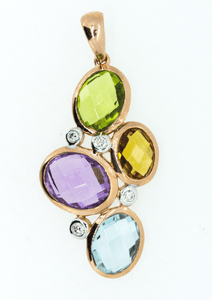 9CT Rose Gold Multi Gem Stone Pendant