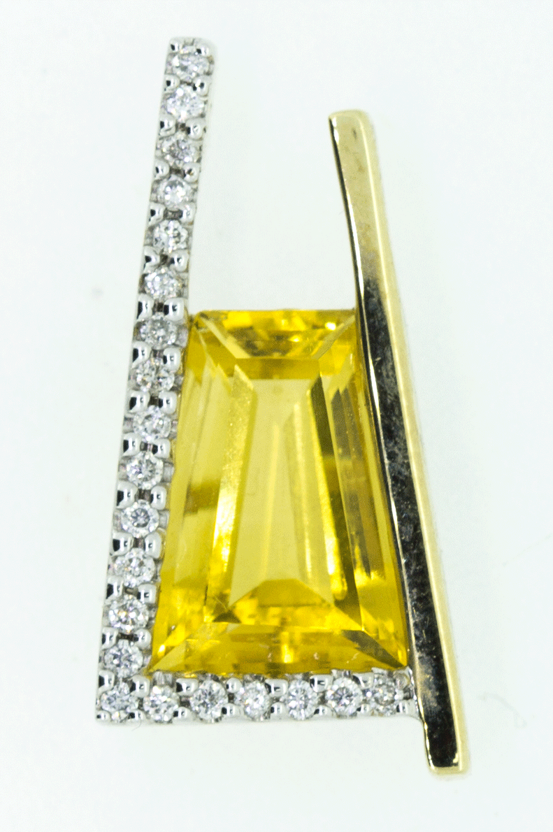 9CT Yellow Gold Citrine and Diamond Pendant