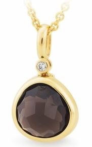 9CT Yellow Gold Smokey Quartz and Diamond Pendant