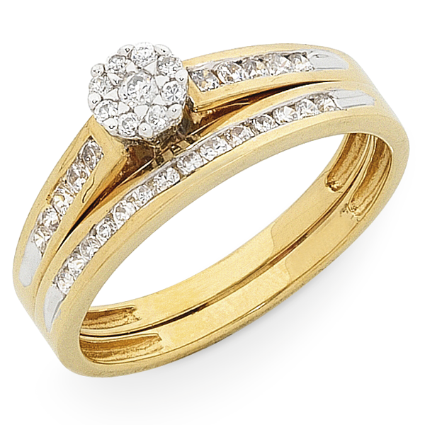 9ct Gold 1/3ct TDW Diamond Bridal Set