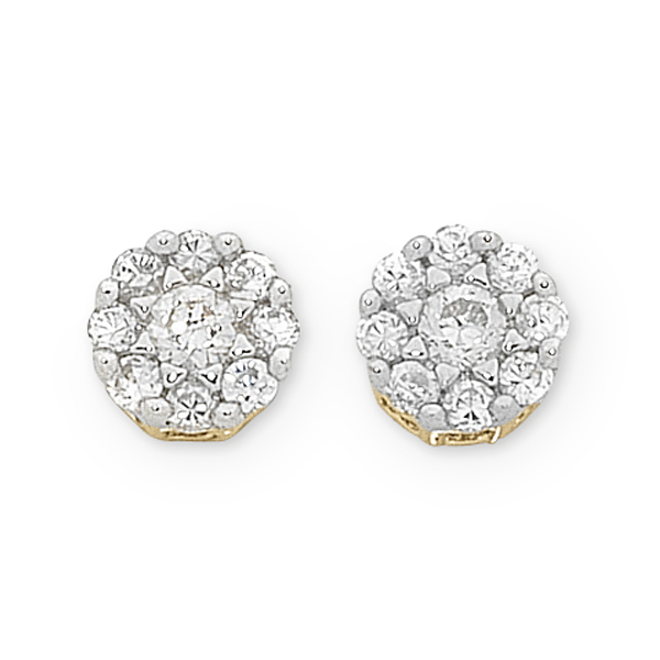 9ct Gold 1/5ct TDW Diamond Stud Earrings