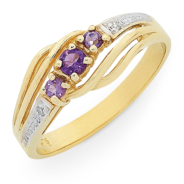 9ct Gold Amethyst & Diamond Set Ring