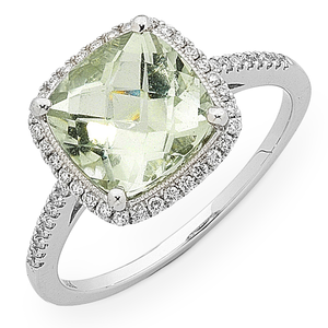 9ct White Gold 1/4ct TDW Diamond & Green Amethyst Ring