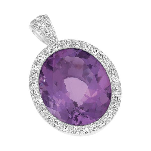 9ct White Gold Oval Amethyst and  Round Brilliant-cut Diamond Pendant