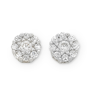9ct White Gold TDW 1/5ct Diamond Set Stud Earrings