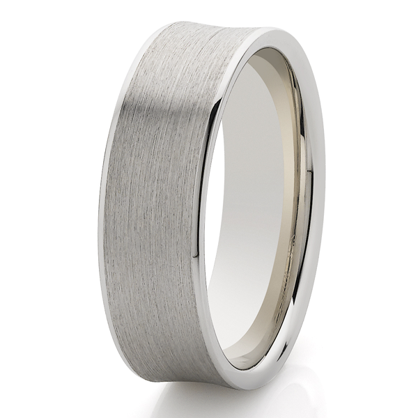9ct White gold 7mm Concave band