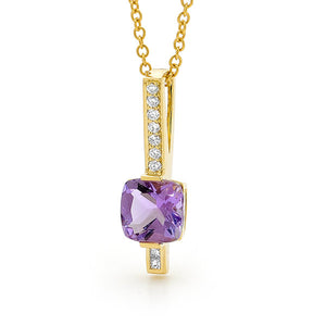 9ct Yellow Gold Amethyst and Diamond Pendant