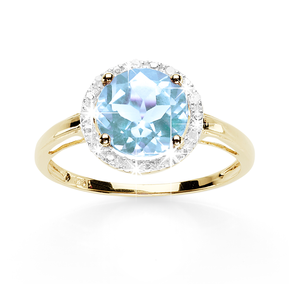 9ct Gold Round Natural Blue Topaz And Diamond Halo Ring
