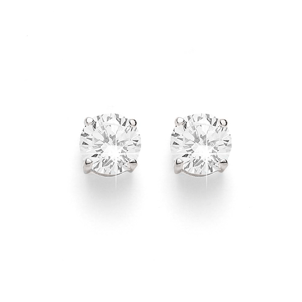 Sterling Silver 6mm Round 4 Claw Set Cubic Zirconia Studs